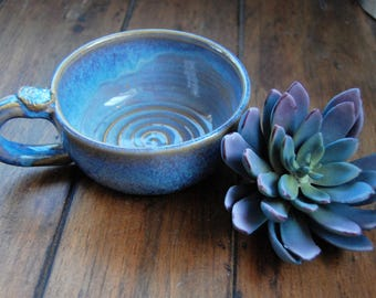 Gift for dad,fathers day gift,bowl with handle, handmade bowl, pottery bowl, ceramic bowl, ice cream bowl, blue ceramic bowl, pottery blue