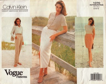 Vogue 1070 / Vintage Designer Sewing Pattern By Calvin Klein / Pants Trousers Skirt / Sizes 8 10 12