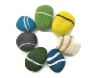 6 Felt stones, felt pebbles, felt rocks, wool felt sea stones, felt river stones, felt river rocks, wool felt pet toys, felted pebble stones
