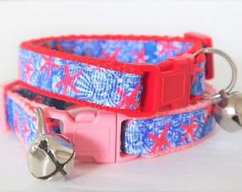 Cat or Kitten Collar-Pink or Red Cat Collar with Sea Stars and Shells-Girl or Boy Cat Collar-Breakaway Cat Collar with Removable Bell