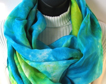 Womens Silk Infinity Scarf Hand Dyed Silk Scarf Unique Handmade Scarf Turquoise Blue and Chartreuse Green Cowl Scarf