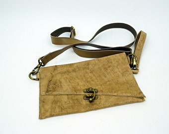 Stone Light Brown Leather Purse with Brown leather Strap and Wristlette Strap