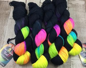 hand dyed yarn DK/ sock/ double knitting yarn/ merino/ nylon 'Glowsticks' UK indie dyer/ crochet/ knitting/ yarn wool
