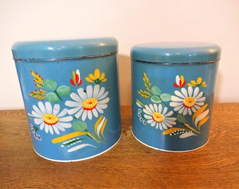 Retro Handpainted Ransburg Canister Set - Turquoise with Daisy Pattern - 2 Piece - Shabby Cottage Chic Storage - Farmhouse Kitchen Decor