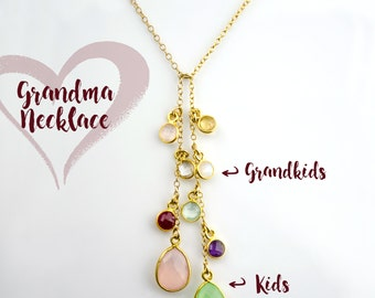 Mothers day gifts for Grandma necklace with custom birthstones necklace with grandkids birthstones, family tree necklace, tree of life