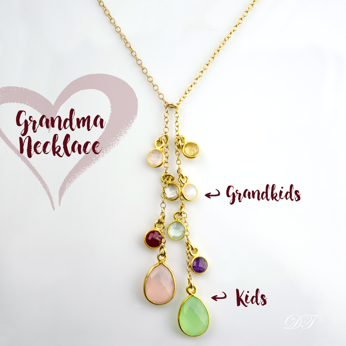 sweet necklace blossom gifts heart at birthstone mom grandkid