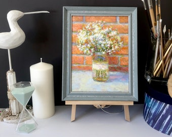 "ORIGINAL OIL PAINTING on canvas 12.5x10"" floral still life painted flowers bouquet Gypsophila framed fine art wall home decor"