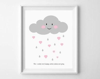 Nursery Illustration, Baby Wall Art Printable, Cloud, Rain & Hearts, nursery decor, gender neutral, baby gift, pastel, kids decor, lilmate