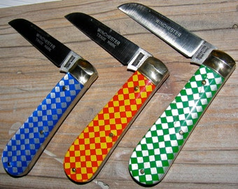 3 Winchester Pocket Knives with Checkerboard Handles / Knife