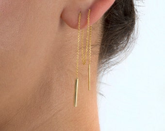 Unique earrings,  Threader earrings,  Chain bar earrings,  Trendy bar earrings,  Every day jewelry,  Minimalistic,  Geometric earrings