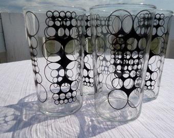 Mid Century Mod Black Enamel Circle Drinking Glasses Set of 4