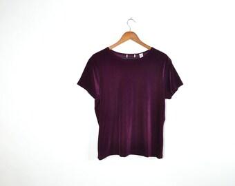 Vintage Red Velvet Short Sleeve Top