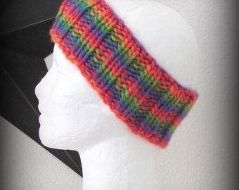 headband - knit headband - hand knit headband - hand made headband - ear warmer - knit ear warmer - rainbow - rainbow knit headband - warmer