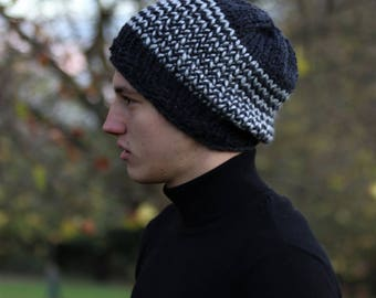 Men's Knitted Hat, Men's Slouchy Hat,Men's Striped Hat, Hand Knitted Hat, Winter Chunky Hat, Gray and Gray, Gray and Olive, Blue and Beige