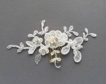 OFD1 Handmade bridal lace hair piece with handbeaded Swarovski rhinestones, crystals & pearls.