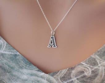 Sterling Silver Uppercase A Initial Charm Necklace, Oxidized Sterling Silver Uppercase A Letter Necklace, Uppercase A Necklace, Uppercase A