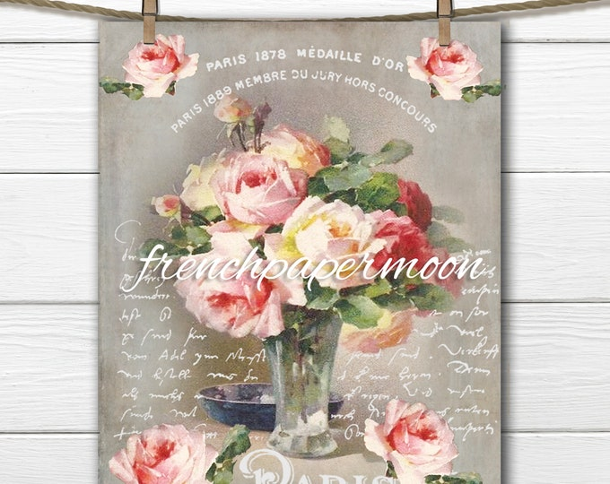 Digital Victorian Rose Printable, French Graphic Roses, Instant Download, French Pillow Transfer Graphic, Craft Supply