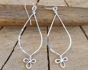 Fancy Loops Long Teardrop Earrings, Sterling Silver Dangle Earrings, Silver Wire Earrings, Silver Wire Jewelry, Women, Gifts for Her