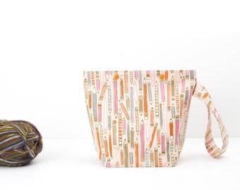 Pencil small snap knitting bag, writer's crochet storage bag, artist's sock project bag