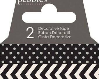 Pebbles Basics Dot & Chevron Washi Tape - Black -- MSRP 3.00