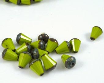 Green Teardrop Beads, 8mm Faceted Czech Beads, Czech Glass Beads, Chartreuse, Bright Avocado Green Picasso Teardrops (DRO/RJ-1822) - Qty. 15
