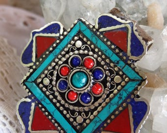 Silver Nepalese turquoise metal case - gift idea