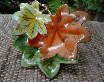 UCAGCO China Leaf Candy Dish // Yellow Orange Green Leaves