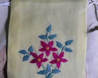 Set of 3 pretty bag 11x15cm N11 panne fabric