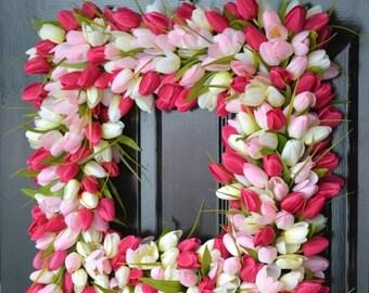 SPRING WREATH SALE Pink Tulip Spring Wreath- Thin Storm Door Wreath Spring Decor Square Wreath- Tulip Wreath- 20 inch shown- The Original Tu