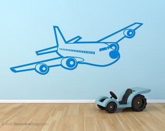 Giant 56 Inch Passenger Airplane Wall Decal | plane aviation kids wall art bedroom wall art kids wall decal airplane art vinyl wall decals