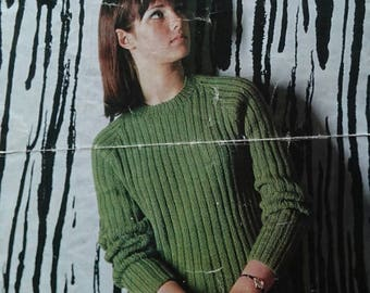 Vintage Teenage in Sirdar Raglan Sweater Knitting Pattern  - Design No.734