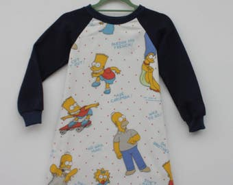 Upcycled Simpsons Print Kids Jumper Dress
