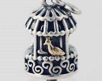 Authentic Pandora Song Bird Cage Charm Bead 14k / Silver #791114