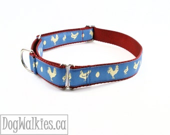 """Golden Chickens Dog Collar // 1"""" (25mm) Wide // Martingale or Quick Release // Choice of size and style // Blue // Barn Red"""