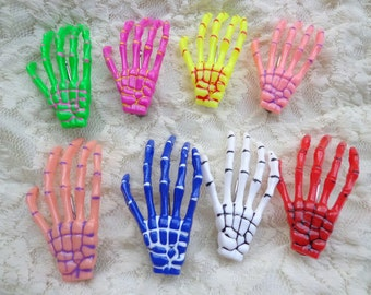 SALE--10 pcs skeleton hand hair clips Mixed colors