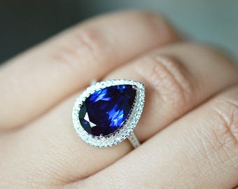 Sapphire Ring, Blue Sapphire Ring, Sapphire Engagement Ring, September Birthstone Ring, CZ Diamond Halo Ring, Silver Wedding Ring For Women