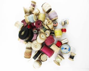 Vintage Thread Spools - Thread/String/Crochet Spools - 45 Vintage Wood Spools - Partially Full or Empty - Wide Variety and Age