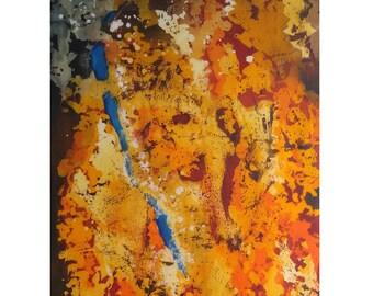 Fall,  batik original painting, silk painting, original abstract painting, 1/1, red & orange