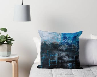 Decorative Pillow, Black and Blue Pillow, Square Pillow, Abstract Art Pillow, Art Pillow Cover, Scatter Pillow, Pillow Case, Scatter Cushion