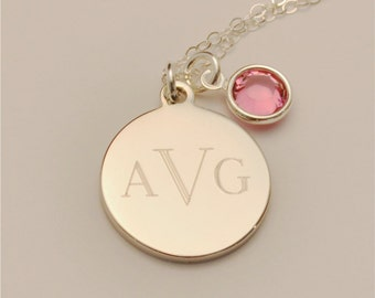 FREE SHIPPING Small Custom Engraved Monogram Charm Necklace with Birthstone Gift Jewelry, Personalized Bridesmaid Gift,