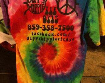 Dippy Hippie Tie Dyes Logo T-shirt Adult Handmade Tie Dye