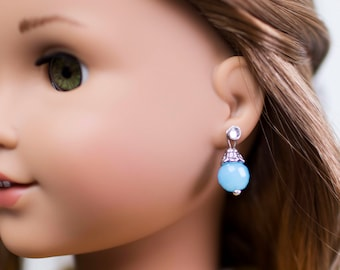 Light Blue Bead Dangle American Girl 18 inch Doll Silver Plated Fashion Earrings
