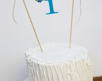 First Birthday Cake Banner, One Cake Banner,  Birthday Cake Banner, Blue Cake Banner, One Cake Topper:  Blue Ocean Hues