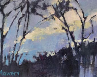 SALE False Dawn - 5x7 inches unframed original acrylic painting of a gloomy sunrise over the woods made by Maryland painter Barb Mowery