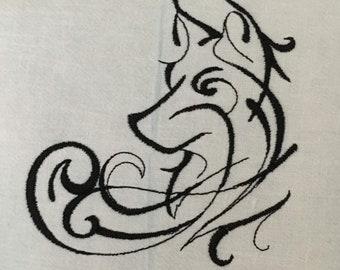 Inky wolf tea towel