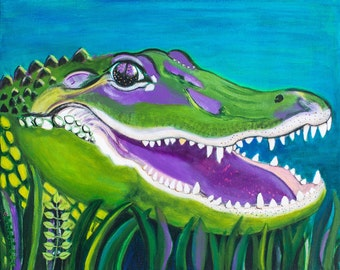 Happy Alligator Limited Edition Print of the Original Painting