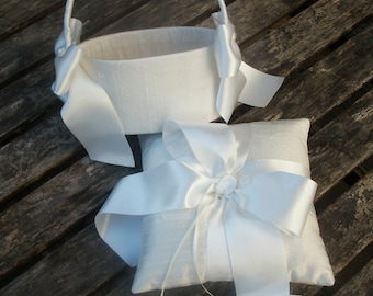 Ring Bearer Pillow/Cushion and Oval Flower Girl Basket Set in ivory  raw silk with wide satin ribbon bows