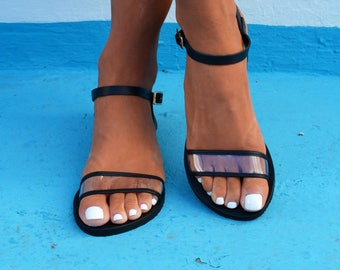 Transparent leather sandals, Black PVC sandals, See-through sandals, Leather-PVC ankle strap sandals, Naked sandals 'Anna'