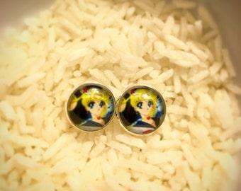 Sailor Moon Inspired Stud Earrings, Sailor Moon Earrings, Sailor Moon Jewelry, Retro Cartoon Earrings, Sailor Moon