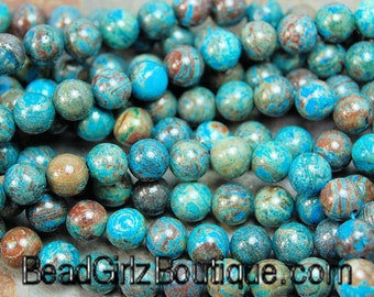 """Imperial """"Turquoise"""" Jasper 4mm, 6mm, 8mm, 10mm, 12mm -15.5 inch strand"""